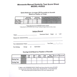 Score Sheets for the Minnesota Manual Dexterity Test