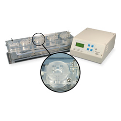 Quad channel Acrylic chamber system for Biochemistry with heater & thermistor feedback control