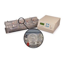 Quad channel Acrylic chamber system for Electrophysiology with heater & thermistor feedback control