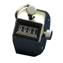 This 4-digit mechanical counter fits in the palm of your hand and has a ring for holding with your finger.