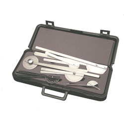 6 Piece Goniometer set complete with padded carrying case.