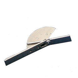 This goniometer is used for easy range-of-motion measurements of metacarpal, phalangeal and interphalangeal joints