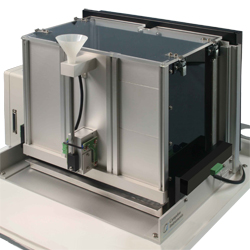 Chamber shown with modular panel walls (Model 80614-3) and corresponding reward trough (Model 80614-17)